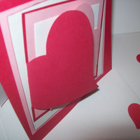 Pink, Red, and White Valentine Card with Hearts - Square Valentine's Day Card - 100% in Love - Handmade Cards