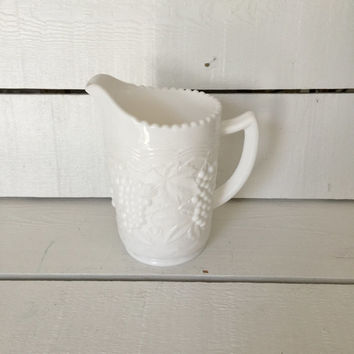 Milk Glass Pitcher, White Milk Glass Jug, Vintage Pitcher, Imperial Glass Co Pitcher, Grapevine Pitcher, Gift for Mom, Wedding Gift