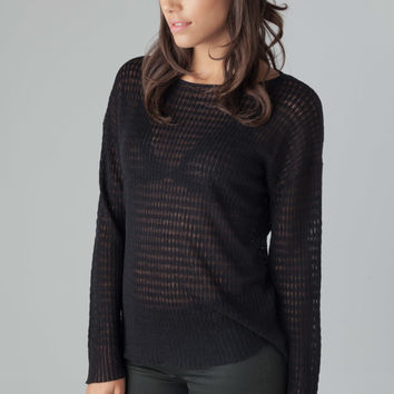 Nili Lotan Waffle Stitch Boyfriend Sweater in Black