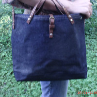 Stylish Waxed Denim  Over the Shoulder Tote, Office to Casual Tote, Water Repellent Tote with Pencil slips & Interior pockets,