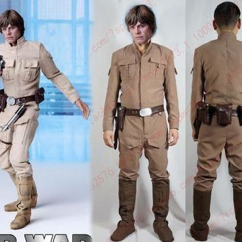 Star Wars Luke Skywalker Cosplay Costume with shoe covers and waist bag
