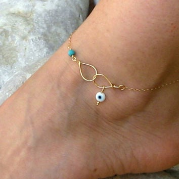 Evil Eye Anklet, Handmade Charm Ankle Bracelet, 14k Gold Fill or 925 Sterling Silver, Delicate Anklet, Turquoise Anklet, Lucky Foot Jewelry