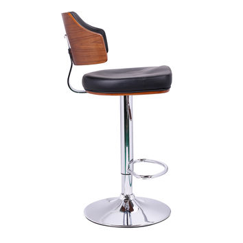 Adeco Black Leatherette and Walnut-Color Wood Hydraulic Lift Adjustable Barstool Mid Curved Back Chair Chrome Finish Pedestal Base