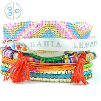 2015 Fashion Colorful Knit Bracelets Vintage Boho Beading Bracelets Women Accessories Loom Bands Jewelry (Color: Multicolor) = 1958320260