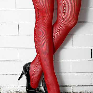Vintage High Quality Red Seam, Steampunk, Punk, Mod Nylon Tights Pantyhose One Size
