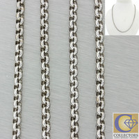 "Chopard 18k Solid White Gold 3mm Circle Link 17"" Chain Necklace 18.2g"