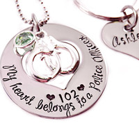 Personalized My Heart Belongs To A Police Officer - Love Necklace - Police Man - Trooper - Highway Patrol Officer