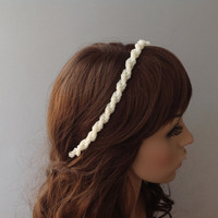Bridal Headband, wedding head piece, pearl tiara, brides accessories, gift for her