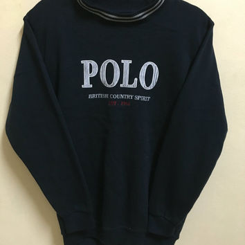 Vintage 90's Polo by British Country Spirit Classic Design Skate Sweat Shirt Sweater Varsity Jacket Size M #A264