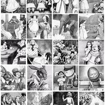 Alice In Wonderland collage sheet 2 inch squares digital download art graphics images black and white vintage drawings printables