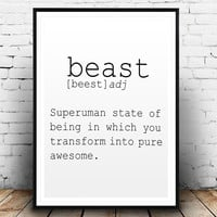 DEFINITION OF BEAST Funny Wall Art Printable Definition Name Definition Funny Poster Definition Print Definition Poster Typography Print Art