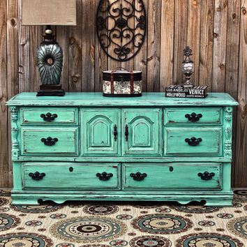 Aqua Dresser /Distressed Buffet /Shabby Chic /Bedroom Furniture