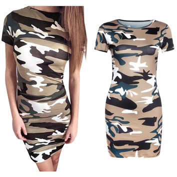 Summer Bags Slim Camouflage Green Mini One Piece Dress [5024139396]