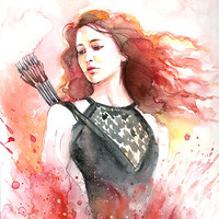 Watercolor painting - Hunger Games Catching Fire Katniss - Jennifer Lawrence