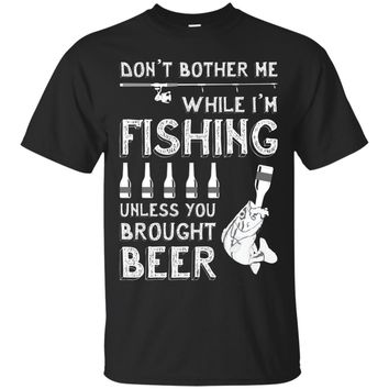 Mens Mens Fishing Humor Beer & Fish Graphic Fishing Drinking Tee