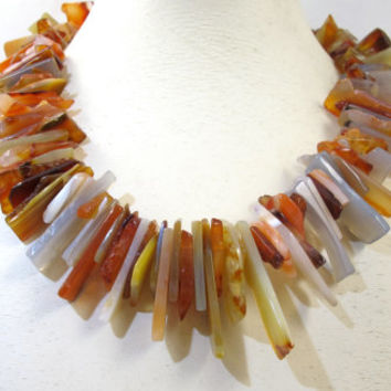 Agate Necklace, Multi Color Agate Slice Bib Collar Necklace. 14K Signed DC, Vintage Agate Gemstone Jewelry