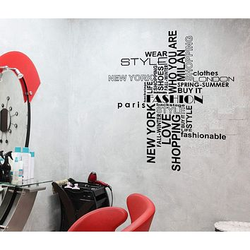 Wall Stickers Fashion Style Beauty Hair Salon Shopping Woman Vinyl Decal Unique Gift (ed437)