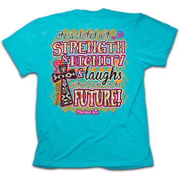 SALE Cherished Girl Proverbs 31 Strength Dignity Aztec Cross Girlie Christian Bright T Shirt
