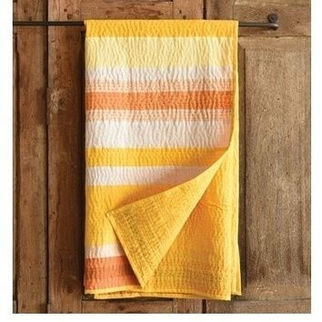 Spice Yellow Stripe Cotton Kantha Throw