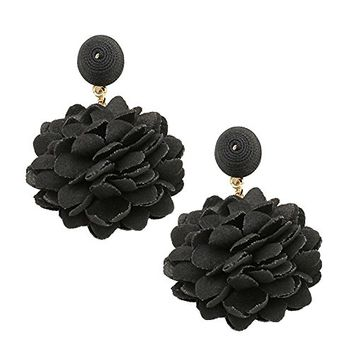 Black and Gold Floral Fabric Drop Earrings