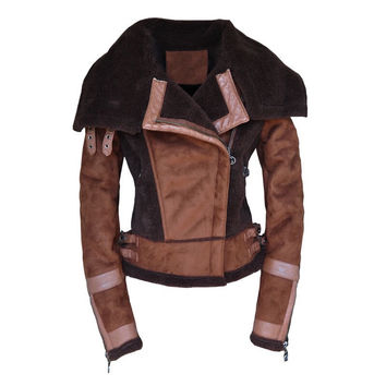 Short Green Suede Shearling Coats Fur Leather Zipper Clothing Vintage Motorcycle Jacket X555
