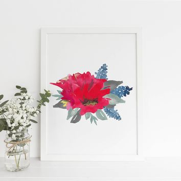 Watercolor Red Poppy Flowers Botanical Art Print