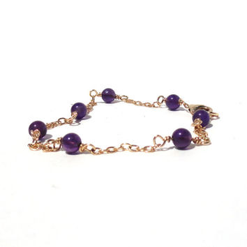 Amethyst bracelet - wire wrapped - purple amethyst - gold filled bracelet - February birthstone - rosary style