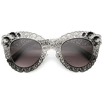 Women's Oversize Ornate Laser Cut Metal Lace Cat Eye Sunglasses 9771