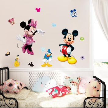 Mickey Minnie mouse cartoon wall stickers for kids room decorations movie wall art removable pvc comic animal decals zooyoo1437