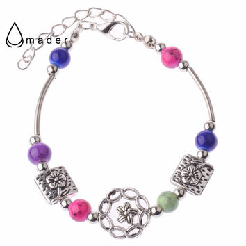 Four Colors Flowers Beads Native American  Beautiful Bracelet For Women Free Shipping B7309