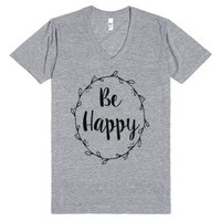 Be Happy-Unisex Athletic Grey T-Shirt