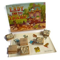 Lady and The Tramp . Vintage Stamp Set . Original Box . Walt Disney's Toy .