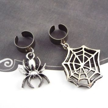 Spider and Web Gothic Ear Cuffs, Set of 2