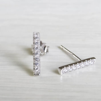Silver Bar Earrings, tiny silver bar studs, sterling silver line earrings, silver line studs, silver minimal earrings, silver cz earrings