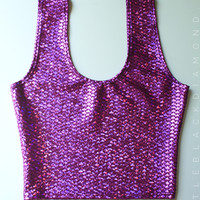 Amethyst Purple Mermaid Scale Crop Top Tank