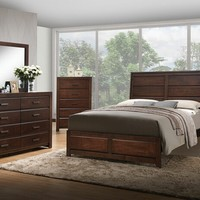 Acme 25790Q 5 pc oberreit collection contemporary style walnut finish wood queen bedroom set