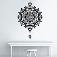 Quality Wall Decals Mandala Yoga Ornament Indian Buddha Decal Vinyl Sticker Lotus Flower