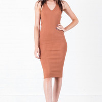 Ribbed Dress Rust