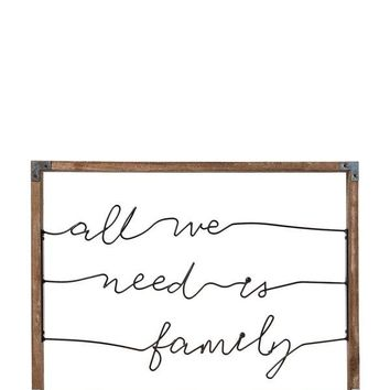 All We Need Is Family Wired Wall Art