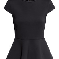 Scuba-look Peplum Top - from H&M