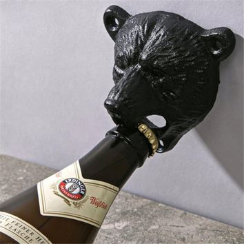 Vintage Cast Iron Bear Design Beer Soda Top Opener Wall Mounted Glass Bottle Cap Opener Durable Kitchen Bar Openers Tools 678799
