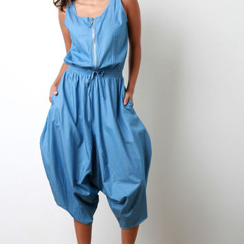 Chambray Zip-Up Baggy Jumpsuit