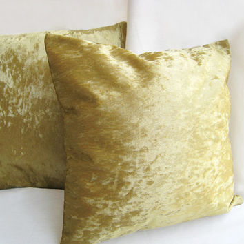 2 Pieces Set. Gold Velvet Pillow Covers Set. Gold Throw Cushion Covers. Solid Color