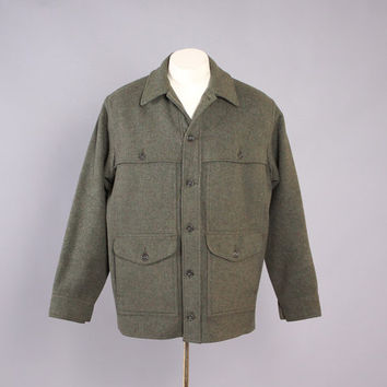 Vintage 60s FILSON JACKET / 1960s Men's Green Wool CRUISER Hunting Winter Coat M - L