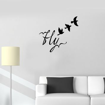 Wall Decal Birds Flight Fly Word Romance Vinyl Sticker (ed1115)