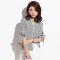 Sexy Button Up Closure Short Sleeves V Neckline Bowtie Detailing Blouse