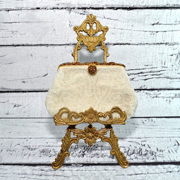 STUNNING Vintage French Beaded Purse - White and Gold - Super Special