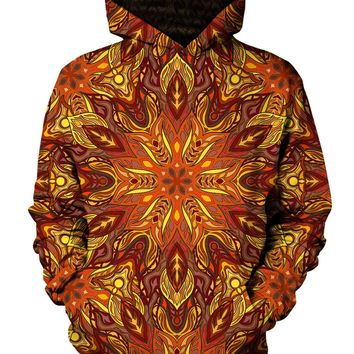 Forest Fire Psychedelic Mandala Pullover Hoodie