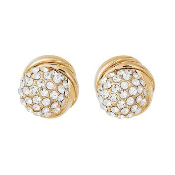Clear Stellux Austrian Crystal Round Halo Stud Earrings in 16K Gold Plated
