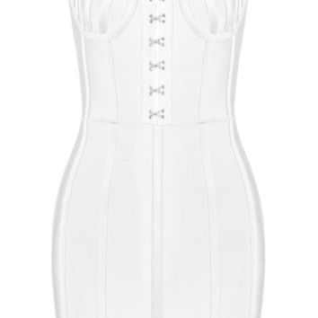 'Erina' Bustier Mini Dress - White